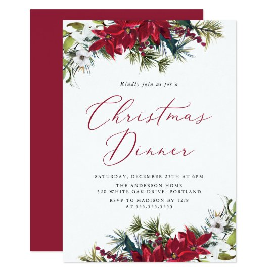 Elegant Watercolor Poinsettia Christmas Dinner Invitation