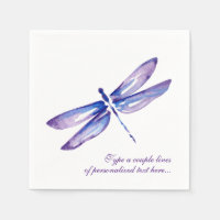 Elegant Watercolor Purple Dragonfly Paper Napkins