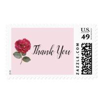 Elegant Watercolor Rose Wedding Thank You Stamp