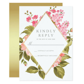 Elegant Watercolor Roses & Blossom on Gold | RSVP Card