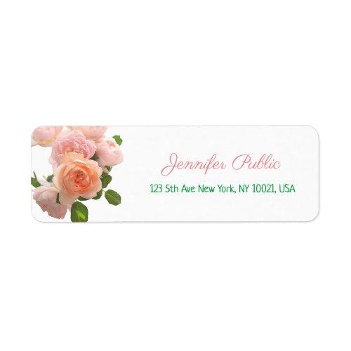Elegant Watercolor Roses Flowers Handwriting Text Label
