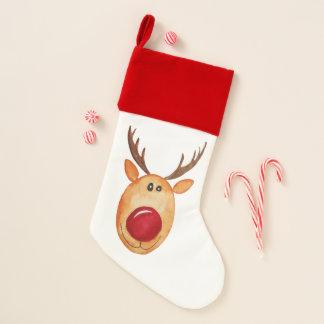 Elegant Watercolor Rudolph The Reindeer Stocking