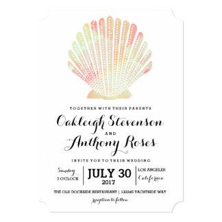 Nice Elegant Watercolor Seashell Wedding Invitation