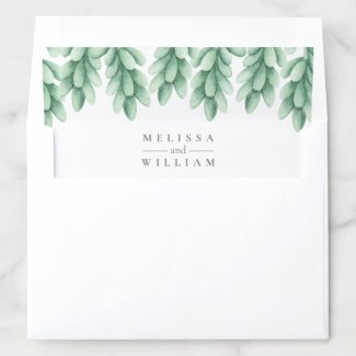 Elegant Watercolor Succulent Bride & Groom Wedding Envelope Liner