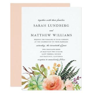 Elegant Watercolor Succulent  | Wedding Invitation