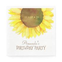 Elegant Watercolor Sunflower Birthday Party Napkin