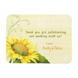 Elegant Watercolor Sunflower Wedding Thank You Magnet