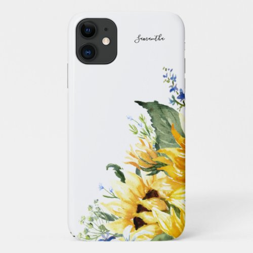 Elegant Watercolor Sunflowers Floral Personalized Phone Case