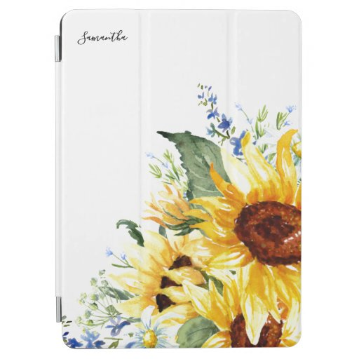 Elegant Watercolor Sunflowers Floral Personalized iPad Air Cover