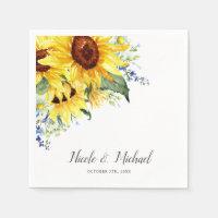 Elegant Watercolor Sunflowers Personalized Wedding Napkin