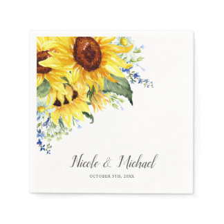 Elegant Watercolor Sunflowers Personalized Wedding Napkins