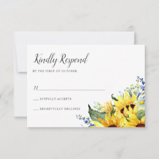 Elegant Watercolor Sunflowers RSVP Card