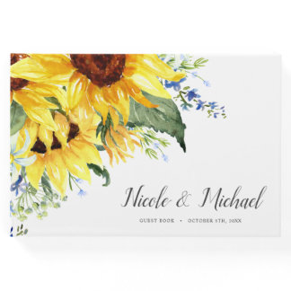 Elegant Watercolor Sunflowers Wedding Guest Book