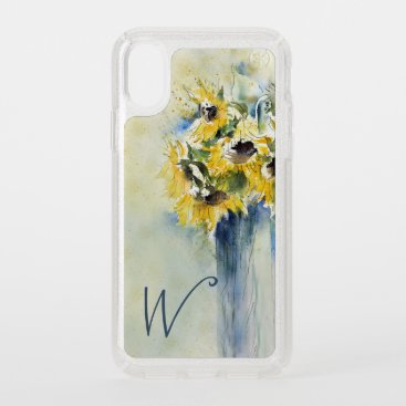 Elegant Watercolor Sunflowers with Initial Speck iPhone XS Case