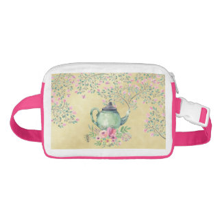 Elegant Watercolor Teapot and Flowers Gold Fanny Pack