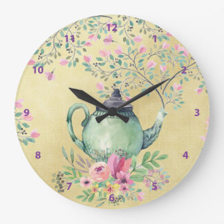 Elegant Watercolor Teapot and Flowers Gold Large Clock