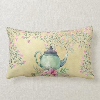 Elegant Watercolor Teapot and Flowers Gold Lumbar Pillow