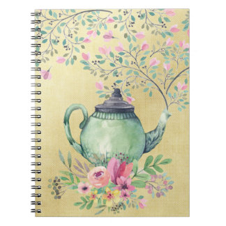Elegant Watercolor Teapot and Flowers Gold Notebook