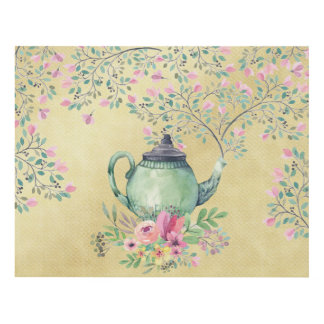 Elegant Watercolor Teapot and Flowers Gold Panel Wall Art
