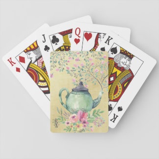 Elegant Watercolor Teapot and Flowers Gold Playing Cards