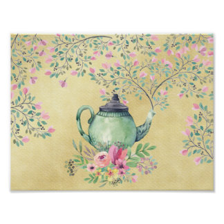 Elegant Watercolor Teapot and Flowers Gold Poster