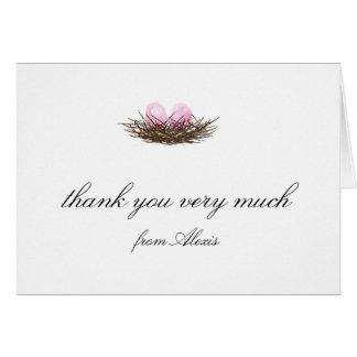 Elegant Watercolor Twins Bird Nest Thank You Card