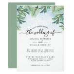 Elegant Watercolor Winter Evergreen Typography Invitation
