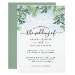 Elegant Watercolor Winter Evergreen Typography Invitation