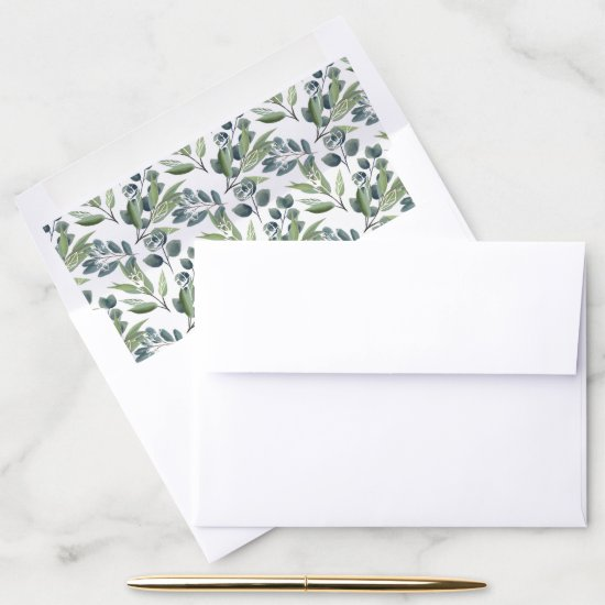 Elegant Watercolor Winter Foliage Christmas Envelope Liner