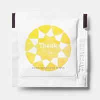 Elegant Watercolor Yellow Sun Pattern Hand Sanitizer Packet