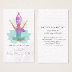 Elegant Watercolor Yoga Meditation Lotus Pattern Business Card at Zazzle