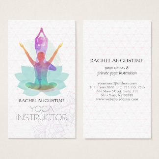 Elegant Watercolor Yoga Meditation Lotus Pattern Business Card