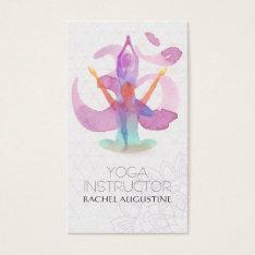 Elegant Watercolor Yoga Meditation Pose Om Symbol Business Card at Zazzle