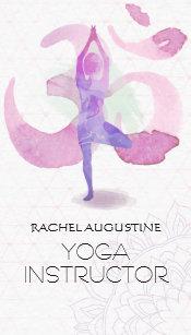 Yoga business cards zazzle elegant watercolor yoga meditation pose om symbol business card colourmoves