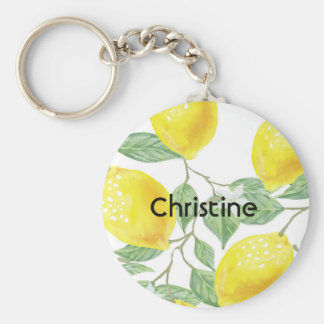 Elegant watercolored lemon pattern on white name keychain