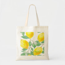 Elegant watercolored lemon pattern on white tote bag