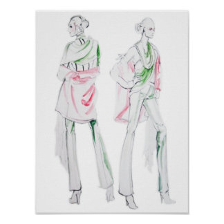 Elegant Watercolour Fashion Illustration Poster