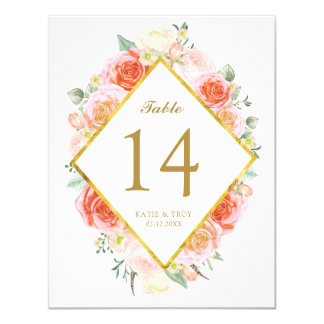 Elegant Watercolour Roses Table Number Cards