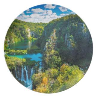 Elegant waterfall scenic, Croatia Melamine Plate