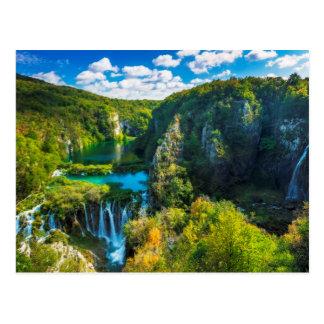 Elegant waterfall scenic, Croatia Postcard