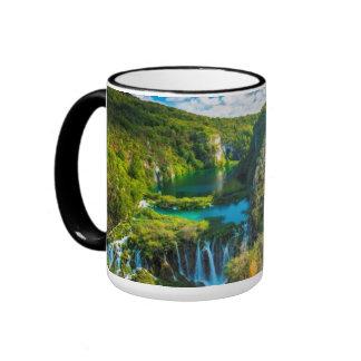 Elegant waterfall scenic, Croatia Ringer Mug