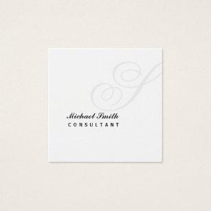 Watermark business cards templates zazzle elegant watermark monogram square business card colourmoves Images
