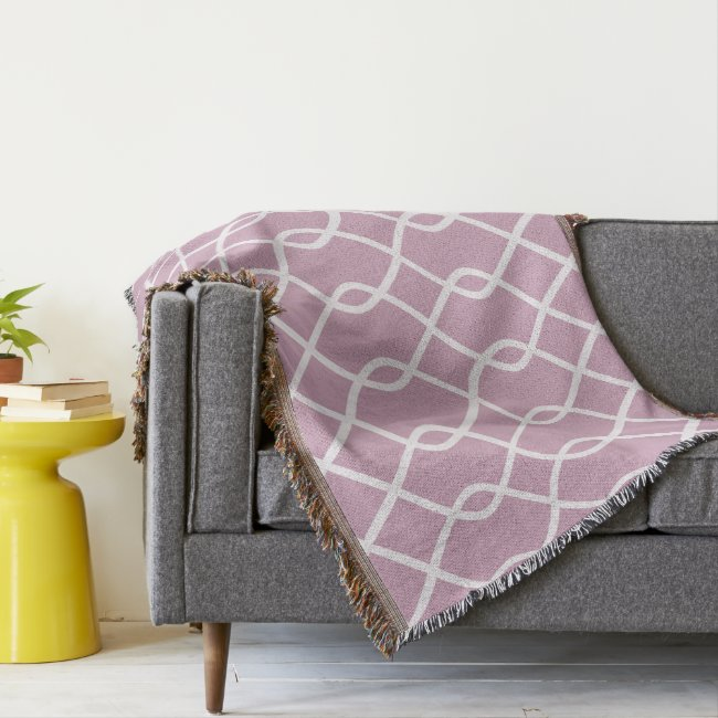 ELEGANT WAVE PATTERN - Mauve Throw Blanket