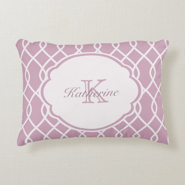 ELEGANT WAVE PATTERN MONOGRAM - Mauve - Pillow