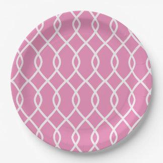 Elegant wave pattern - pink - Paper plates