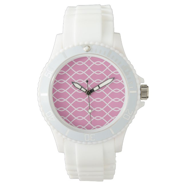 Elegant wave pattern - pink - Watch