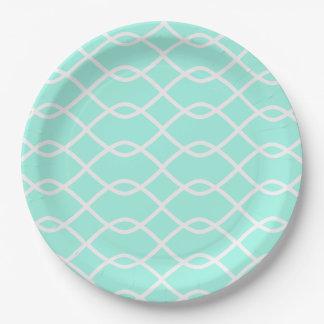 ELEGANT WAVE PATTERN - Teal Paper Plates
