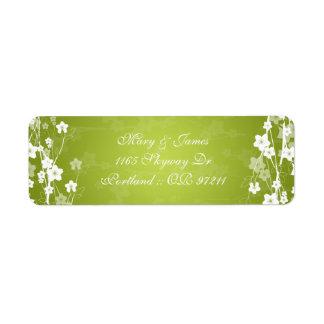 Elegant Wedding Address Cherry Blossom Lime Green Label