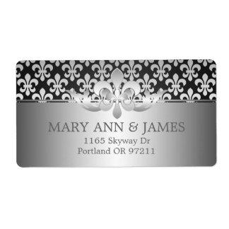 Elegant Wedding Address Fleur De Lis Black Shipping Label