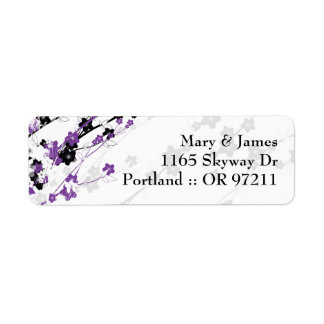 Elegant Wedding Address  Japanese Flowers Purple Custom Return Address Labels